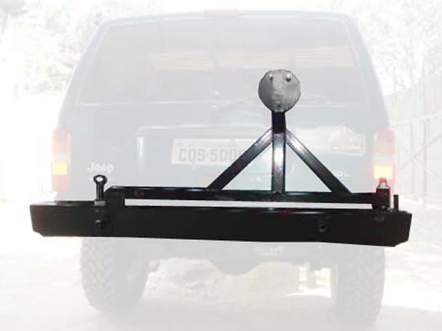 Para-choque traseiro com porta estepe, basculante horizontal e 2 pontas ancoragem