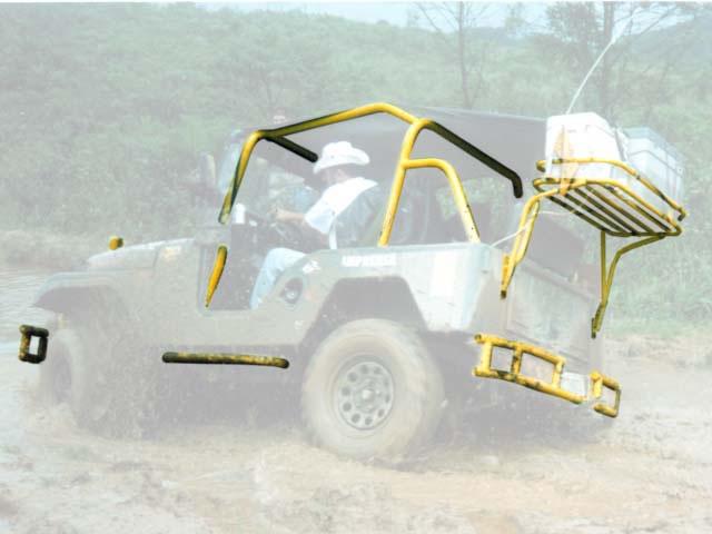 Gaiola interna bagageiro traseiro, para-choque dianteiro e traseiro tubular e estribo tubular