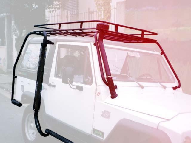 Estrutura externa para apoio de bagageiro de teto, snorkel de scap e admissão