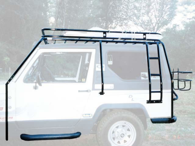 Gaiola externa com bagageiro escada tubular lateral, para-choque traseiro, estribo e porta galão