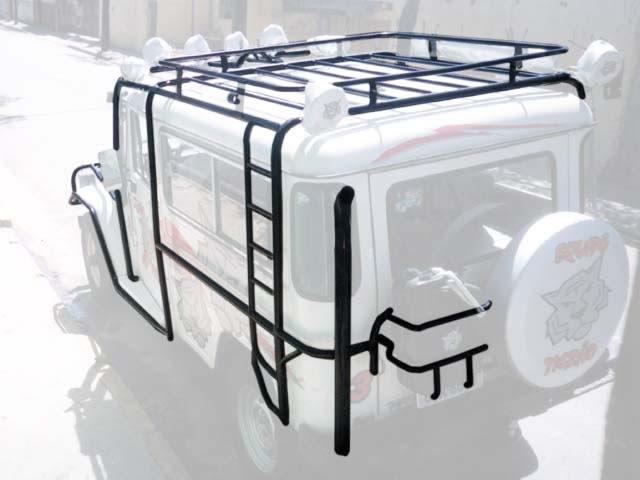 Gaiola externa completa com bagageiro, escada lateral, snorkel de scap e porta estepe e porta galão ( basculante horizontal )