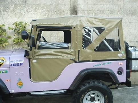 Capota Dupla Face 3 janelas ( bege iraque externo e verde militar interno )