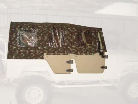 Capota Fixa Super Trial 4 portas em Fibra ( camuflado exército externo e verde militar interno )