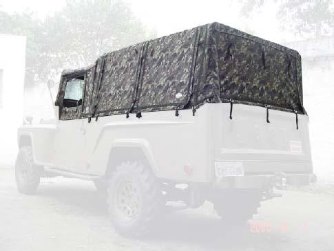 Capota Super Trial Tipo Safári 6 janelas ( camuflado aeronáutico externo e castor escuro interno ) + cabine (cachorro loco )