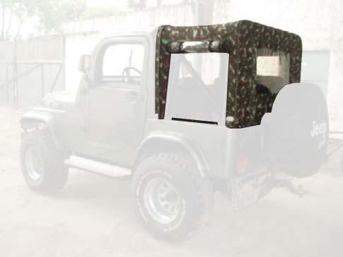 Capota Removível Super Trial 3 janelas ( camuflado exercito externo e verde militar interno ) para Traseira, Dianteira Removível