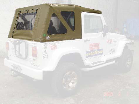 Capota Semi Trial 3 janelas ( bege iraque externo e manta branca interno )